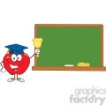 5791 Royalty Free Clip Art Smiling Apple Character Ringing A Bell For Back To School In Front Of Chalkboard