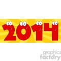 5662 Royalty Free Clip Art 2014 New Year Red Numbers Cartoon Characters