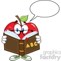 5773 royalty free clip art smiling apple teacher character reading a book with speech bubble  gif, png, jpg, eps, svg, pdf