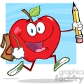 5802 Royalty Free Clip Art Happy Red Apple Character With School Bag And Pencil Goes To School