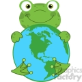 5658 Royalty Free Clip Art Happy Frog Hugging Planet Earth