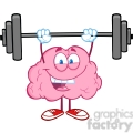 5819 Royalty Free Clip Art Happy Brain Character Lifting Weights