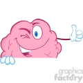 5824 Royalty Free Clip Art Winking Brain Character Holding A Thumb Up Over Sign