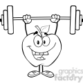 5957 Royalty Free Clip Art Smiling Apple Cartoon Character Lifting Weights