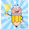 5936 royalty free clip art happy pencil cartoon character holding golden trophy cup  gif, png, jpg, eps, svg, pdf