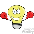 6130 Royalty Free Clip Art Smiling Light Bulb Cartoon Character Wearing Boxing Gloves