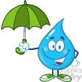 6228 Royalty Free Clip Art Smiling Water Drop With Umbrella