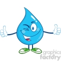 6230 Royalty Free Clip Art Happy Water Drop Character Giving A Double Thumbs Up