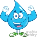 6214 Royalty Free Clip Art Water Drop Cartoon Mascot Character Showing Muscle Arms