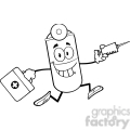 6297 Royalty Free Clip Art Black and White Pill Capsule Cartoon Mascot Character Running With A Syringe And Medicine Bag
