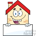 6460 Royalty Free Clip Art Happy House Cartoon Mascot Character Over Blank Sign