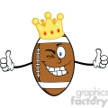 6570 Royalty Free Clip Art American Football Ball Cartoon Character With Gold Crown Winking And Giving A Double Thumbs Up