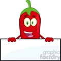 6781 Royalty Free Clip Art Smiling Red Chili Pepper Cartoon Mascot Character Over Blank Sign