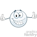 6493 Royalty Free Clip Art Smiling Golf Ball Cartoon Character Giving A Thumbs Up