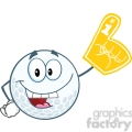6495 royalty free clip art smiling golf ball with foam finger  gif, png, jpg, eps, svg, pdf