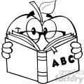 6522 Royalty Free Clip Art Black and White Apple Teacher Character Reading A Book