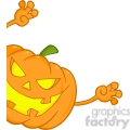 6614 Royalty Free Clip Art Scaring Halloween Pumpkin Looking Around A Sign