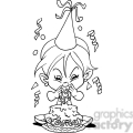 girl birthday party cartoon in black and white