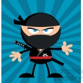 Royalty Free RF Clipart Illustration Angry Ninja Warrior Cartoon Character Flat Design Over Blue Background