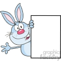 Royalty Free RF Clipart Illustration Cute Blue Rabbit Cartoon Character Looking Around A Blank Sign And Waving