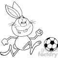 Royalty Free RF Clipart Illustration Black And White Cute Rabbit Cartoon Character Playing With Soccer Ball