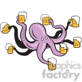 octopus holding mugs of beers  gif, png, jpg, eps, svg, pdf