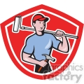 handyman holding hammer and paint roller logo  gif, png, jpg, eps, svg, pdf