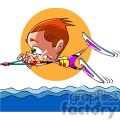 cartoon person wake boarding fun
