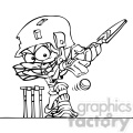 cartoon cricket player in black and white