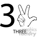 ASL sign language 3 clipart illustration worksheet