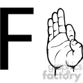 ASL sign language F clipart illustration worksheet