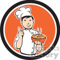 chef carrying hot bowl of soup in circle shape  gif, png, jpg, eps, svg, pdf