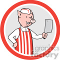 pig butcher standing front in circle shape