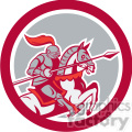 knight with lance riding horse prance in circle shape