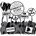 protesting humanity first liberty no war image