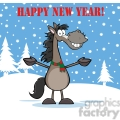 6876_Royalty_Free_Clip_Art_Happy_New_Year_Greeting_With_Smiling_Gray_Horse_Cartoon_Mascot_Character_Over_Winter_Landscape