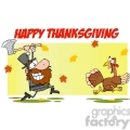 6900_Royalty_Free_Clip_Art_Angry_Pilgrim_Chasing_With_Axe_A_Turkey