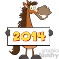 6882_Royalty_Free_Clip_Art_Horse_Cartoon_Mascot_Character_Holding_A_Banner_With_Text