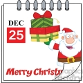 Royalty Free RF Clipart Illustration Christmas Holiday Calendar With Santa Claus Holding Up A Stack Of Gifts