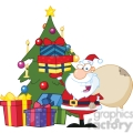 Royalty Free RF Clipart Illustration Jolly Santa Claus Holding Up A Stack Of Gifts By A Christmas Tree