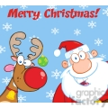 Royalty Free RF Clipart Illustration Merry Christmas Greeting With Reindeer And Santa Claus