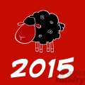 Royalty Free Clipart Illustration Happy New Year 2015 Design Card With Black Sheep