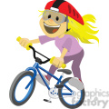 girl riding a bike clip art image