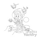 astronaut on strange planet in black and white  gif, png, jpg, eps, svg, pdf