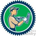 plasterer worker side standing circ  gif, png, jpg, eps, svg, pdf