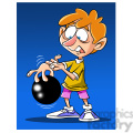 cartoon kid bowling with ball stuck on fingers