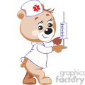 teddy bear nurse holding a big syringe