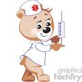 Teddy bear nurse holding a big syringe