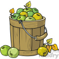 Bucket full of green apples vector clip art image