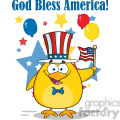 8608 Royalty Free RF Clipart Illustration Patriotic Yellow Chick Cartoon Character Waving An American Flag On Independence Day Vector Illustration Isolated On White With Text